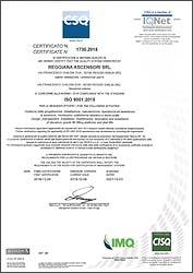 Certificato ISO 9001/2015
